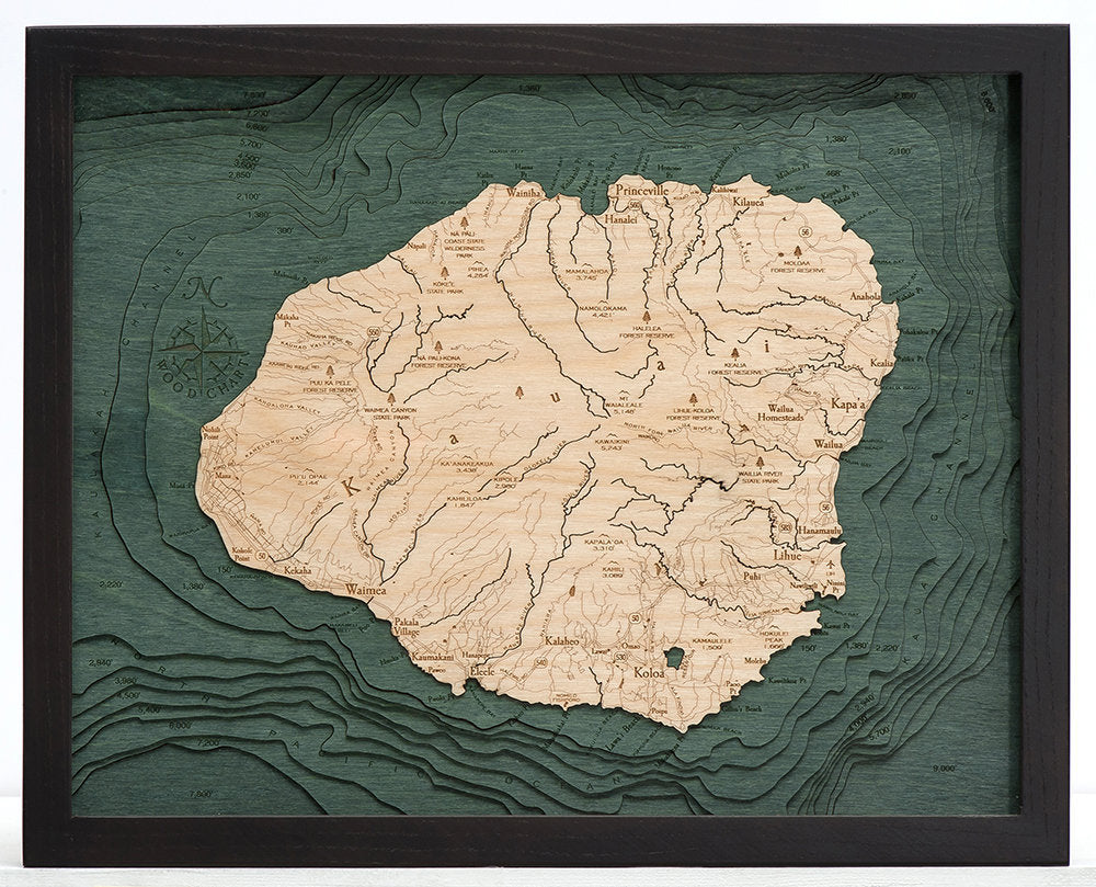Kauai Wood Carved Topographic Depth Chart / Map - Nautical Lake Art