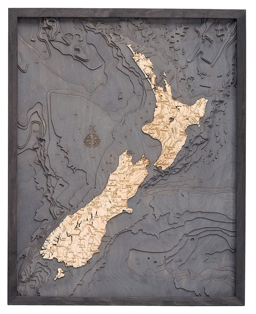 New Zealand Wood Carved Topographic Depth Chart / Map - Nautical Lake Art