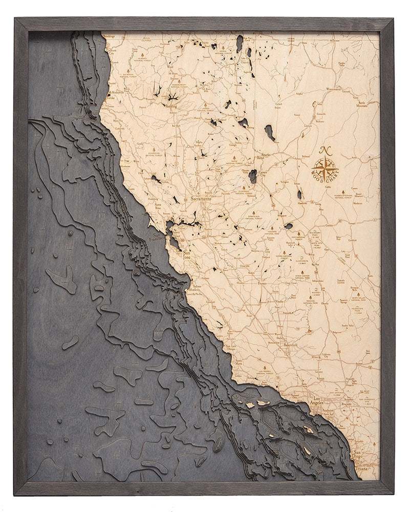 California Coast Wood Carved Topographical Depth Chart / Map - Nautical Lake Art
