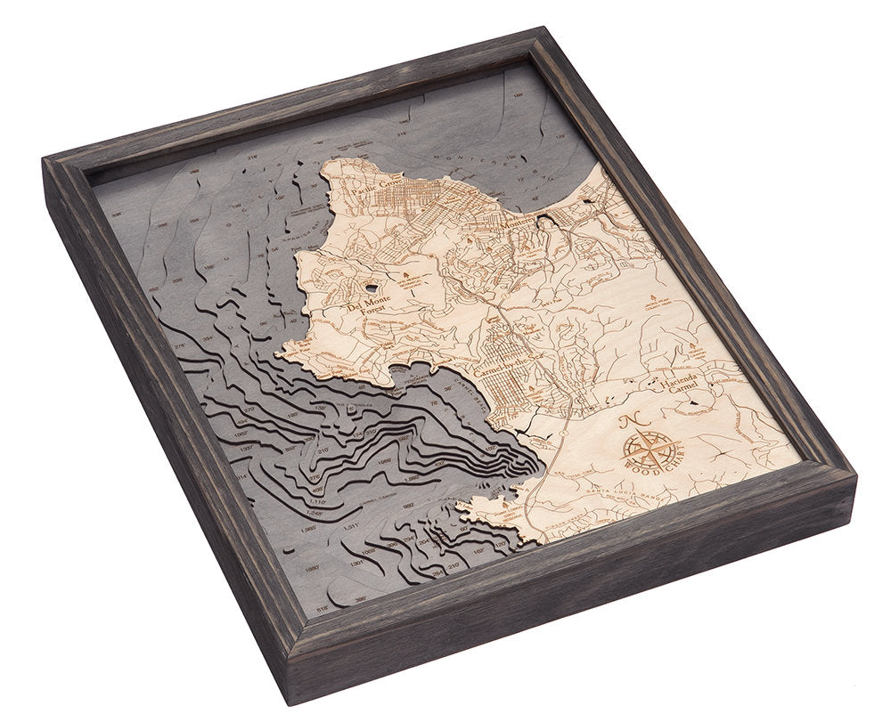 Carmel & Monterey, California Wood Carved Topographic Depth Chart / Map - Nautical Lake Art