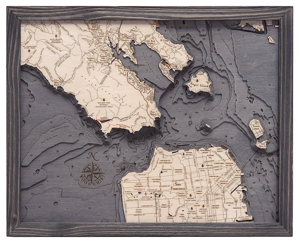 Golden Gate - San Francisco, California Wood Carved Topographical Depth Chart / Map - Nautical Lake Art