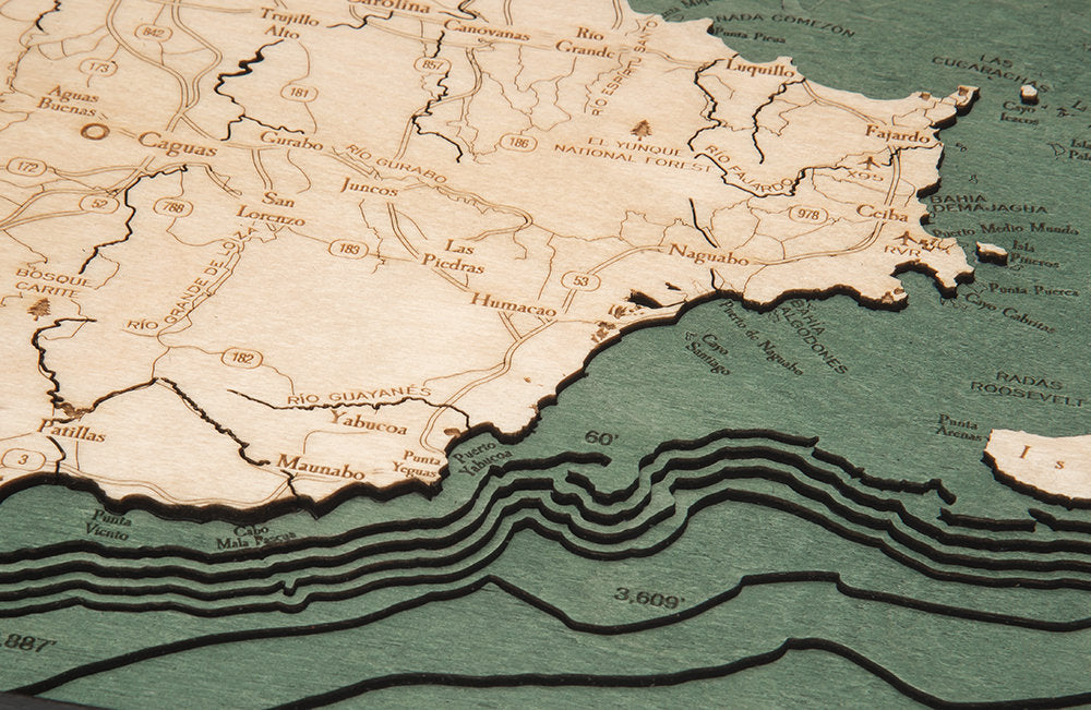 Puerto Rico Wood Carved Topographic Depth Chart / Map - Nautical Lake Art