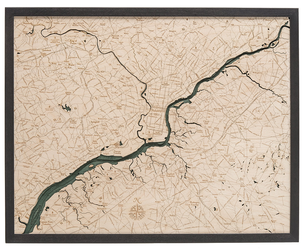 Philadelphia Wood Carved Topographic Depth Chart / Map - Nautical Lake Art