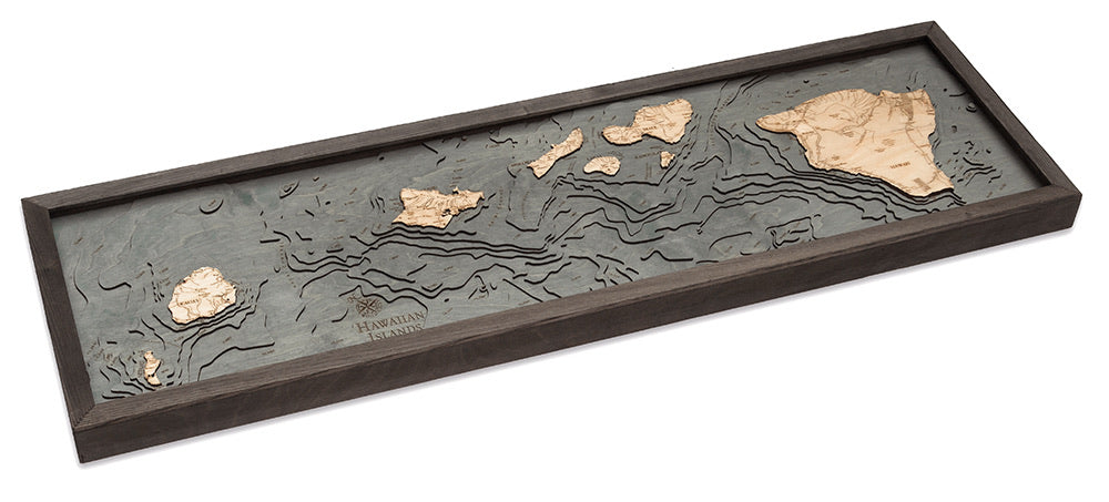 Hawaiian Islands Wood Carved Topographic Depth Chart / Map