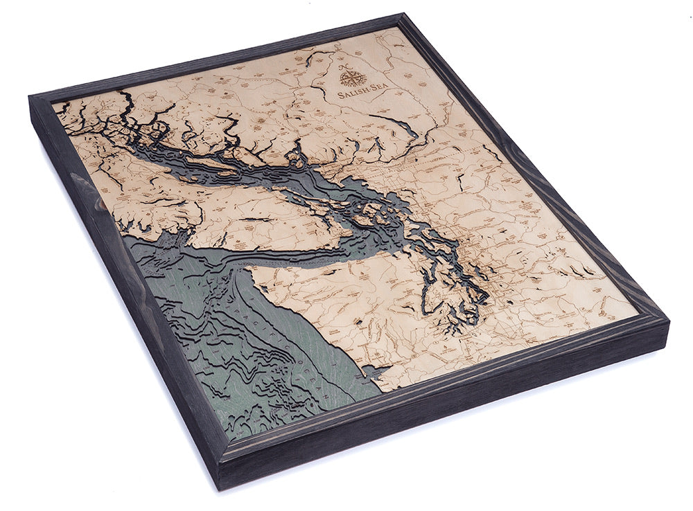 Salish Sea Wood Carved Topographical Map