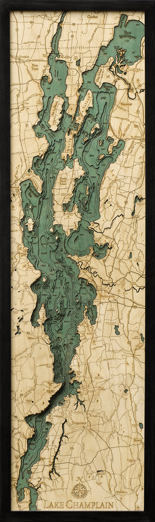 Lake Champlain, NY Wood Carved Topographic Depth Chart / Map