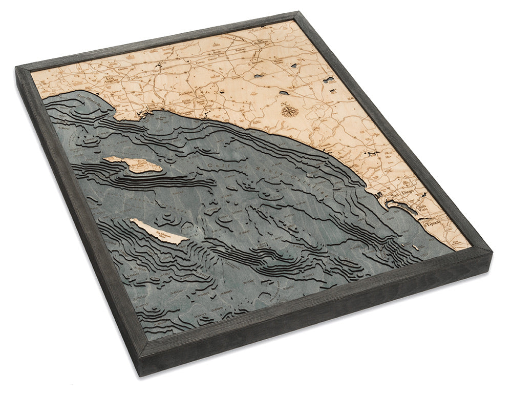 Los Angeles to San Diego Wood Carved Topographical Depth Chart / Map