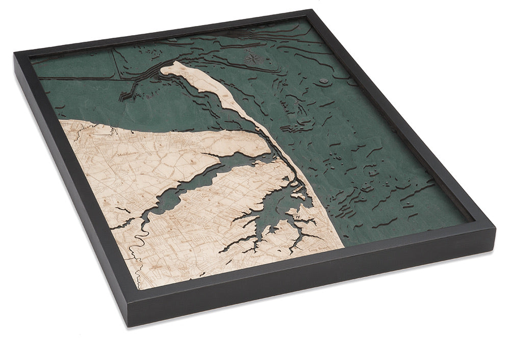 Rumson, New Jersey Wood Carved Topographic Depth Chart / Map