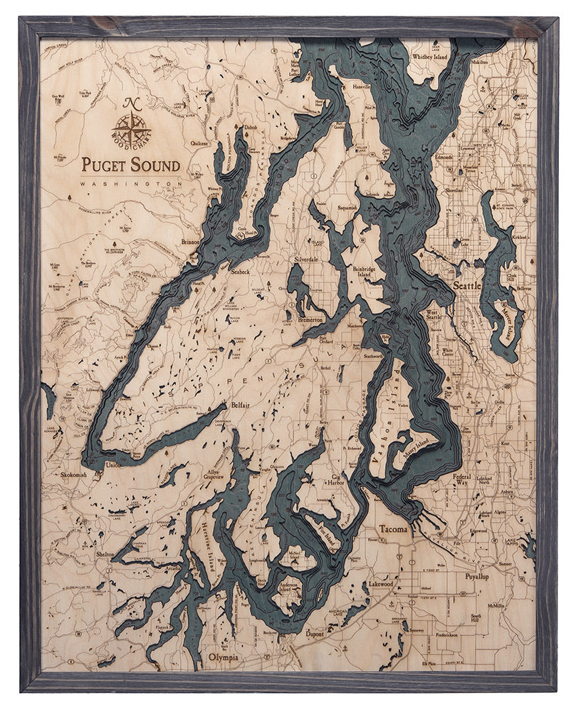 Puget Sound Wood Carved Topographic Map