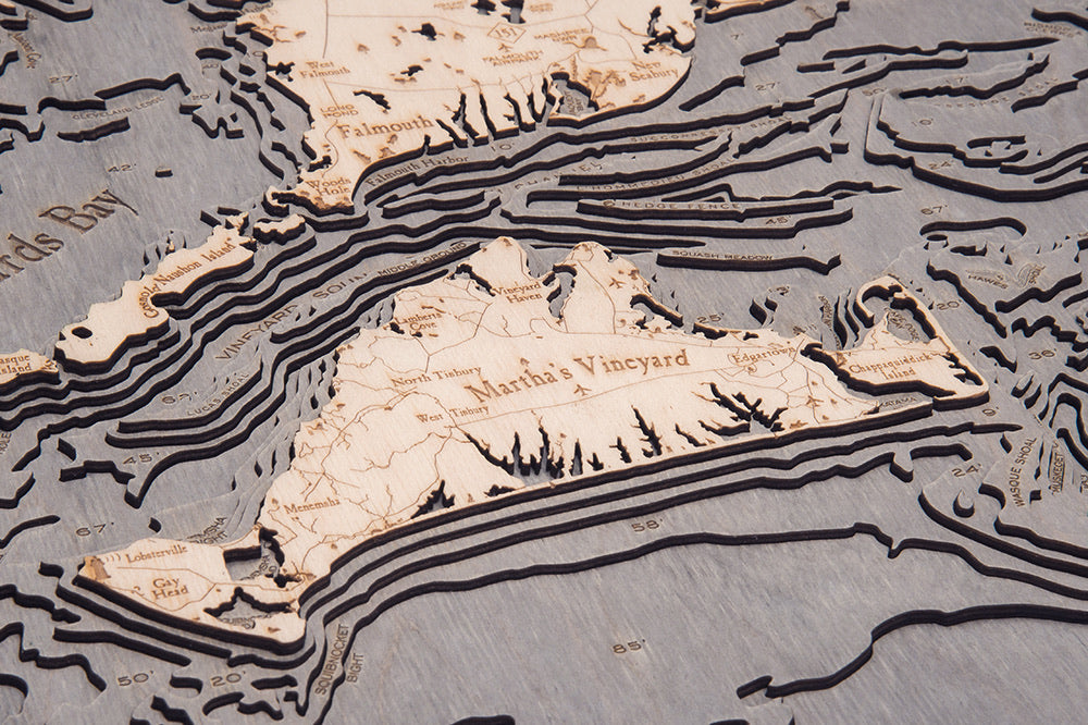 Cape Cod Wood Carved Topographic Depth Chart