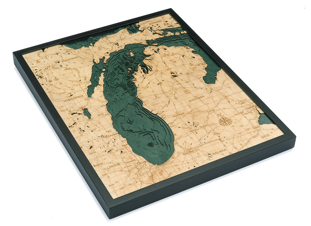Lake Michigan Wood Carved Topographic Depth Chart / Map