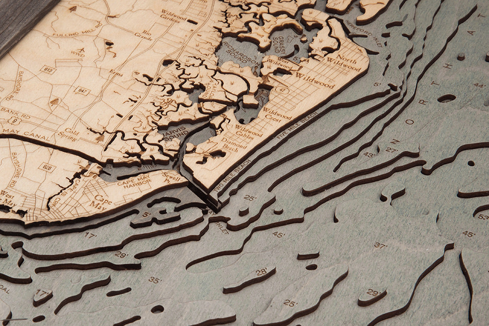 New Jersey South Shore Wood Carved Topographic Depth Chart / Map