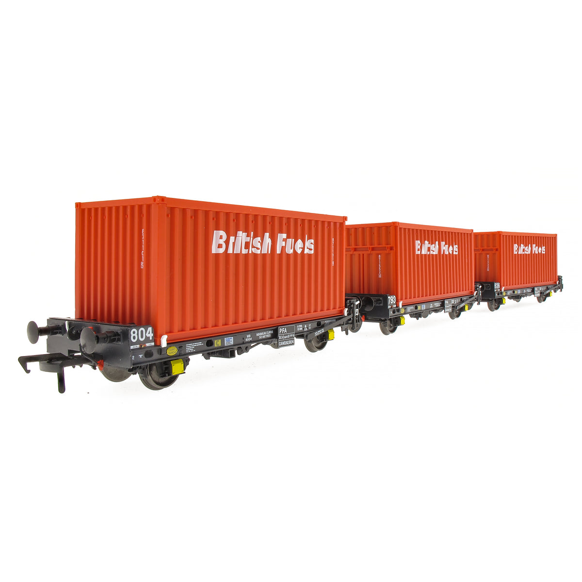 Accurascale OO Gauge ACC2066-BFL-F PF012A PFA Container Flat Wagon, British Fuels