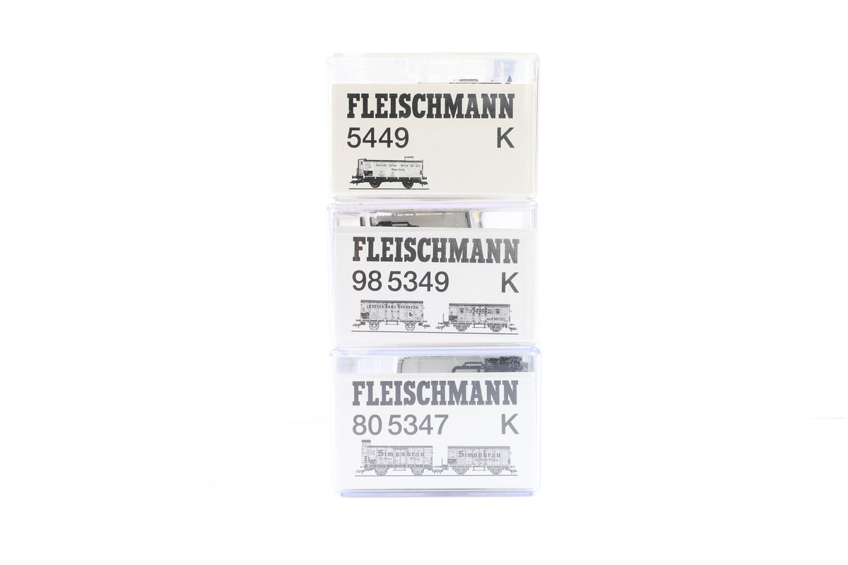 Fleischmann HO Rake of 3 Wagons, Inc 98 5349 K, 80 5347 K + 5449 K