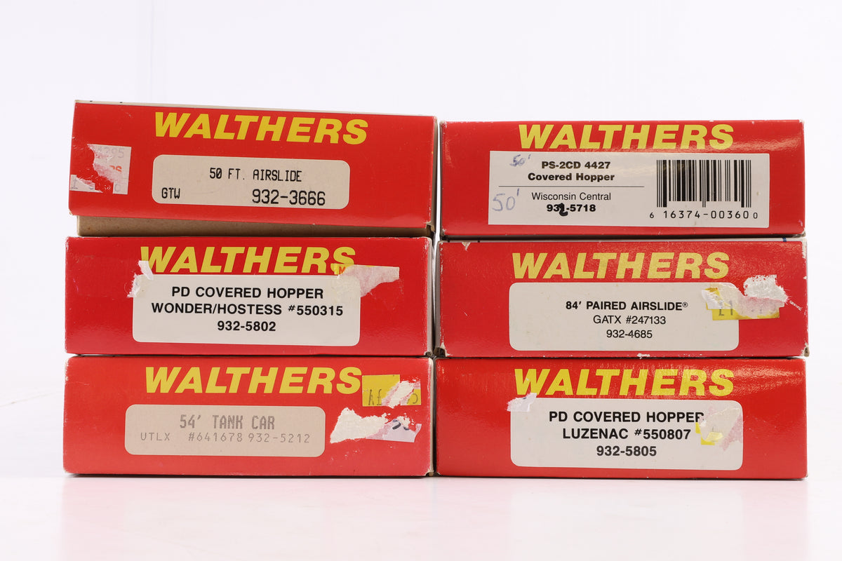 Walthers HO Rake of 6 Wagons Kits Incl. 932-3666, 5718, 4685, 5805, 5802 +5212