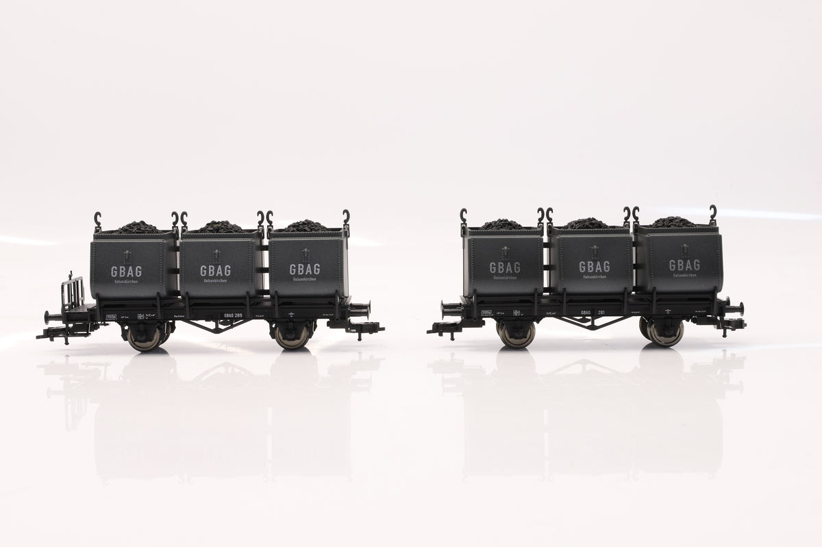 Fleischmann HO Rake of 2 2-Axle Coal-Tub Wagons, Inc. 5264 02K & 5265 02