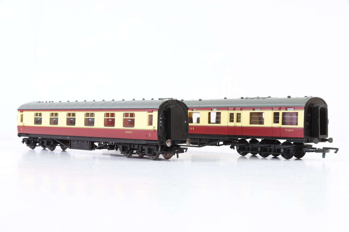 Hornby OO R4188D & R4447B BR (Ex-LMS) Pair of Crimson & Cream Coaches
