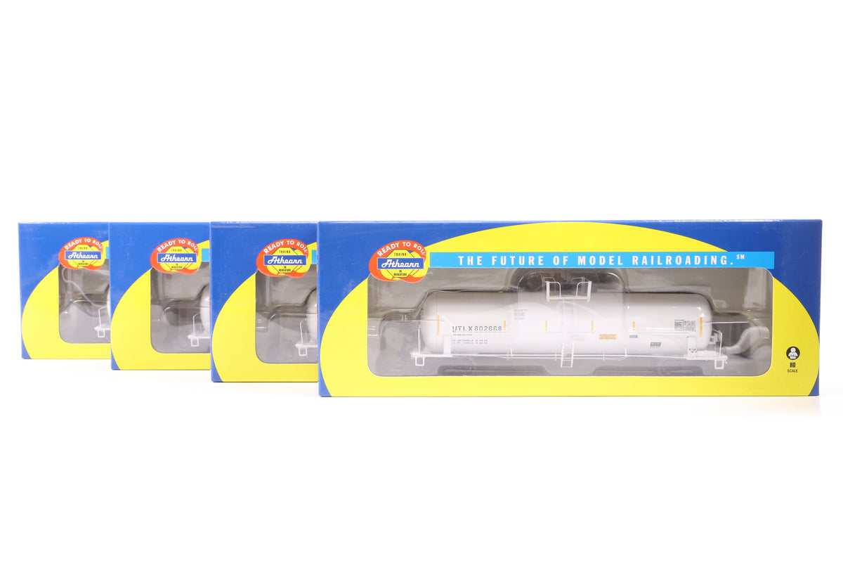Athearn HO Rake of 3 UTLX White & 1 Allied Chemical RTC 50' Acid Tank Cars, Inc. 73937, 46, 47 & 48