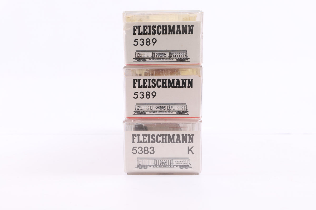 Fleischmann HO Rake of 3 Wagons, Inc. 5383 + 2 x 5389