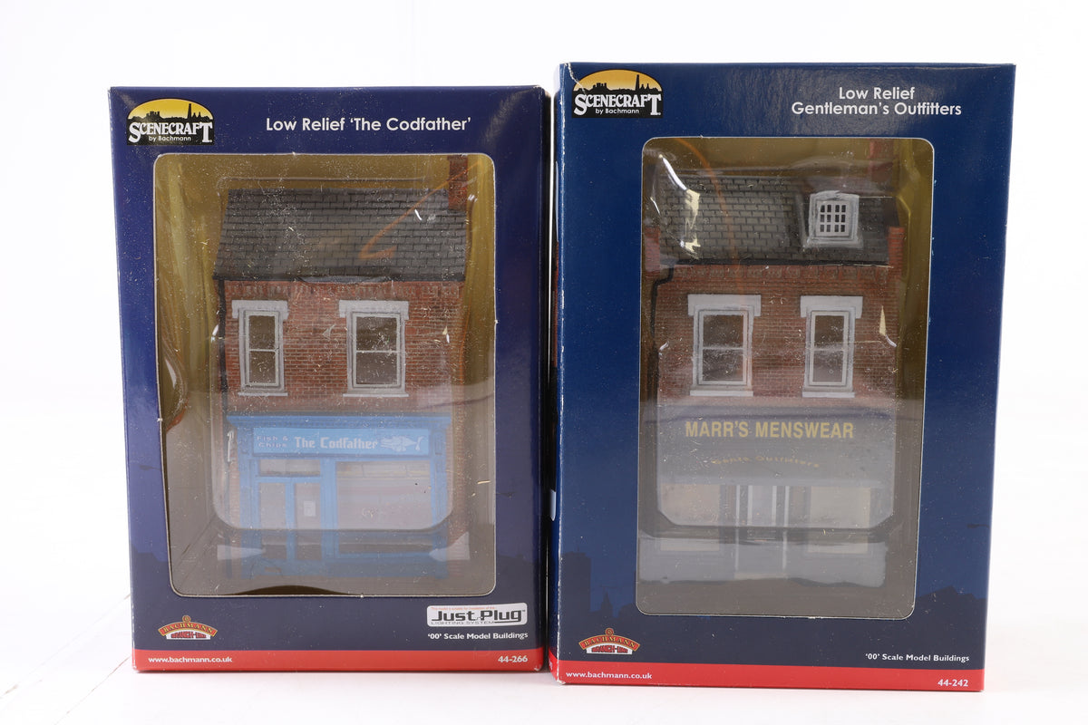 Bachmann OO 2 x Low Relief Buildings, Inc 44-266 'The Codfather' + 44-242 Gentleman's Outfitters