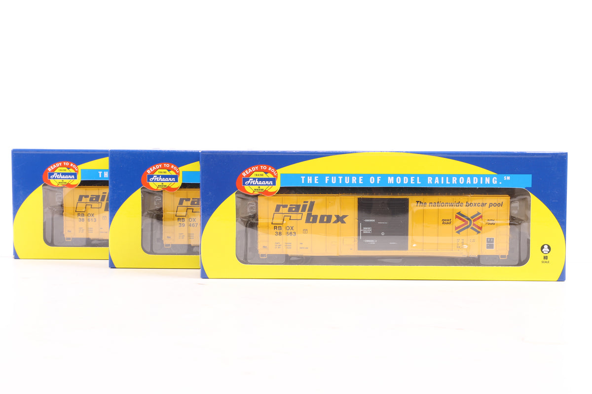 Athearn HO Rake of 3 Railbox 50' FMC 5347 Box Cars, Inc. 96618, 96620 & 96619