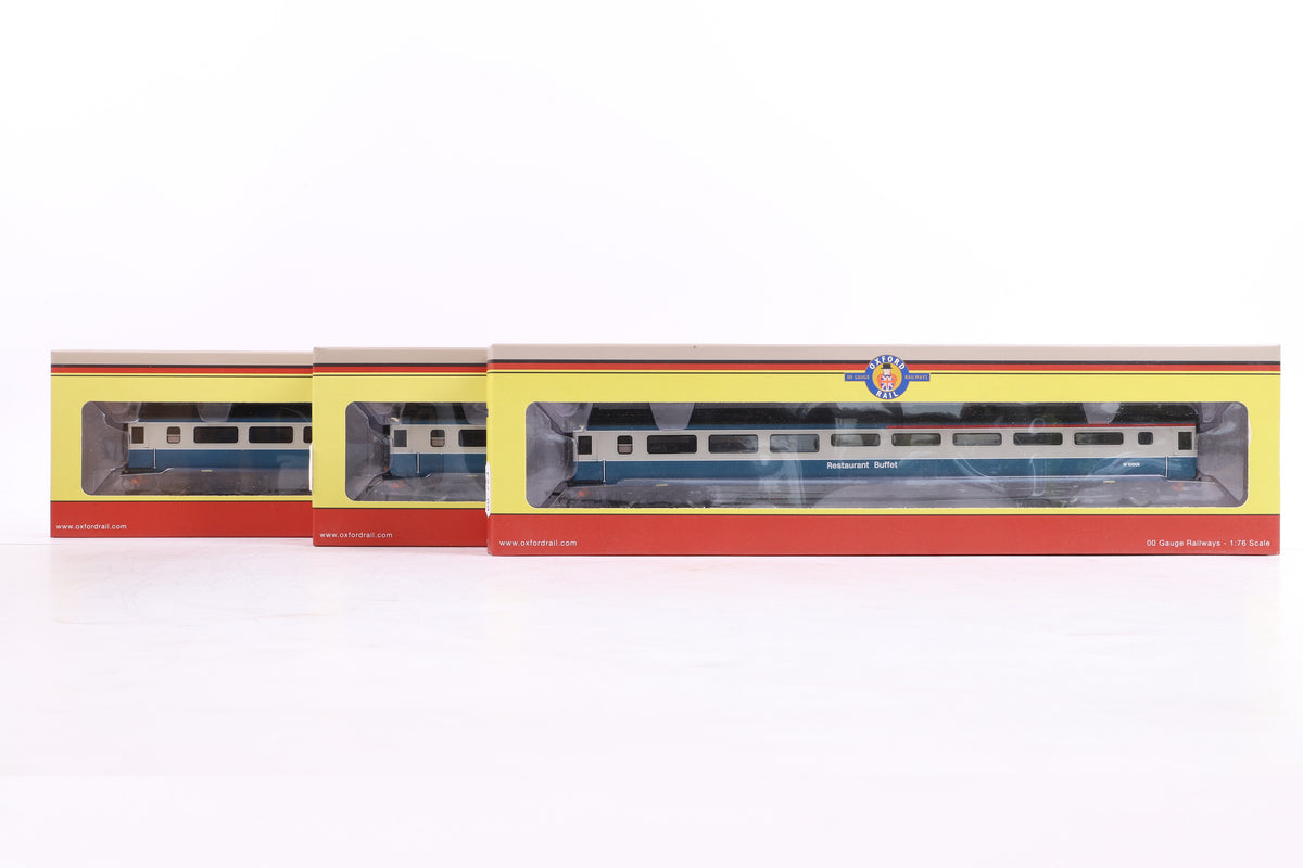 Oxford Rail OO 3 x OR763RB001B Mk3a Coach RUB BR Blue/Grey M10025
