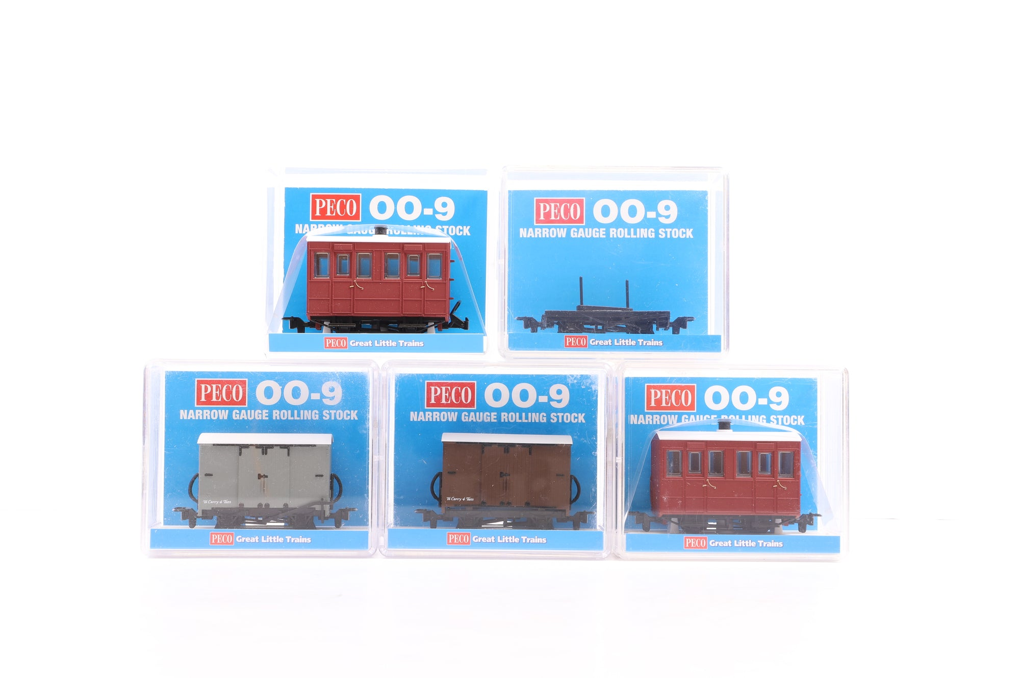 Peco OO-9 Rake of 3 Wagons (2 x Box Vans & 1 Bogie Bolster) & 2 x Glyn Valley Tramway Coaches