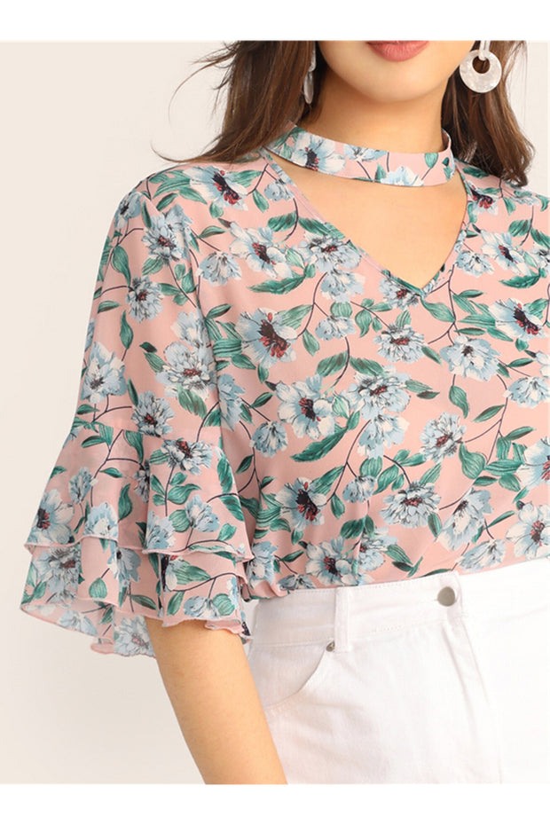 Amelia Ruffle Sleeve Choker Top Plus