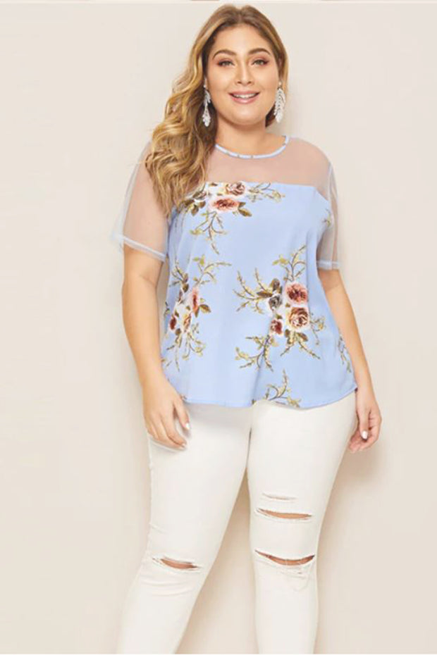 Sareena Sheer Floral Print Blouse