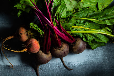 a colourful bunch of beets