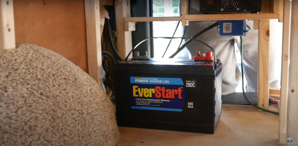 Close up of specialized battery for boats and RVs.