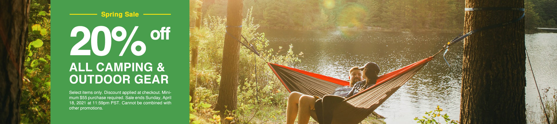 a spring sale banner reading: 20% off all camping and outdoor gear