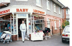 Ron Bean outside first Baby Store Bournemouth
