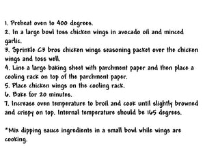 C3 Bros Chicken Wings Seasoning Packet & Recipe Card