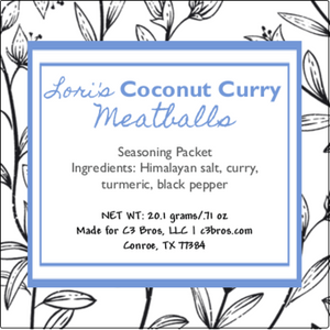 Coconut Curry Meatballs Seasoning Packet & Recipe Card