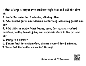 Mexican Lentil Soup Seasoning Packet & Recipe Card