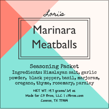 Marinara Meatballs Seasoning Packet & Recipe Card