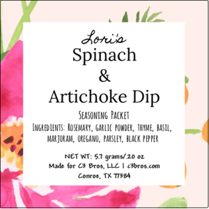 Spinach & Artichoke Dip Seasoning Packet & Recipe Card
