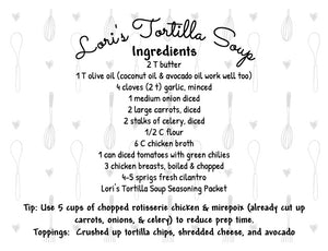 Tortilla Soup Seasoning Packet & Recipe Card