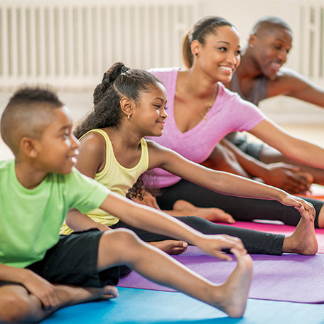 healthy family at home coping with covid stay active