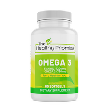 Load image into Gallery viewer, the healthy promise omega 3 fish oil dietary supplement front