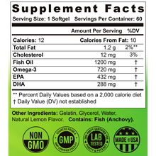 Load image into Gallery viewer, the healthy promise omega 3 fish oil dietary supplement facts