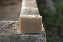 Load image into Gallery viewer, the healthy promise soap handcrafted all natural goats milk and honey on a stone wall back side on a stone wall