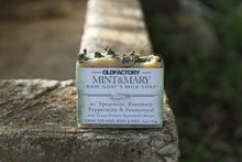 Load image into Gallery viewer, the healthy promise soap handcrafted goats milk mint and mary front of bar on a stone wall
