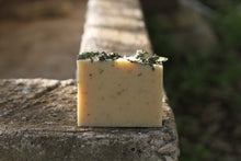 Load image into Gallery viewer, the healthy promise soap handcrafted goats milk mint and mary back of bar on a stone wall