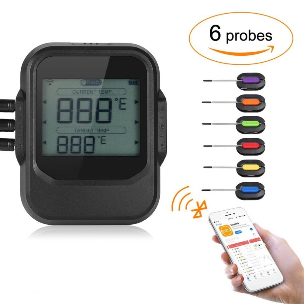 Wireless BBQ Thermometer With Six Probes Bluetooth App Control