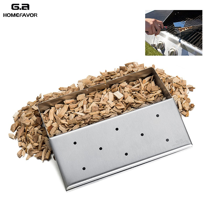 Wood Chip / Pellet Smoker Box For Gas Grill Stainless Steel