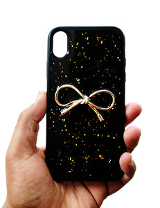 Black Golden Ribbon Silicone Case for Apple iphone X/XS