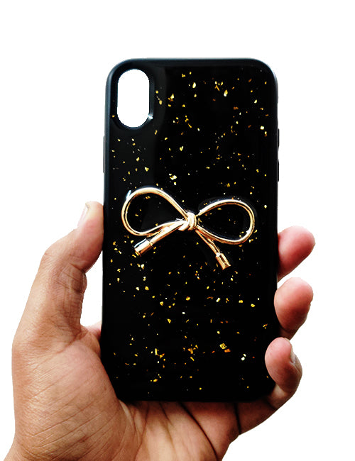 Black Golden Ribbon Silicone Case for Apple iphone XR