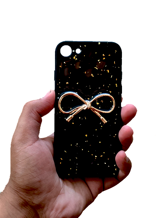 Black Golden Ribbon Silicone Case for Apple iphone 8